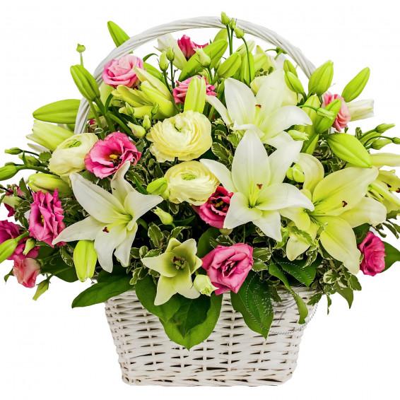 Цветы в корзине «Магия самоцветов»