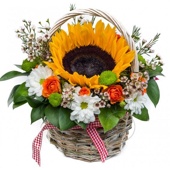 Цветочная корзина «Солнышко в руках»