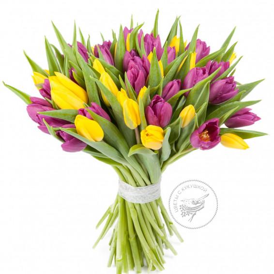 Букет тюльпанов «Яркая пара»