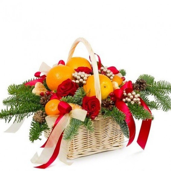 Цветочная корзина «Апельсиновый раф»