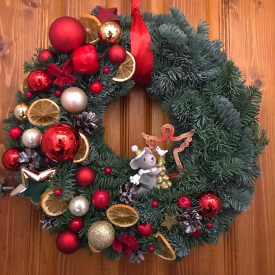 Рождественский венок «Мышка на луне»