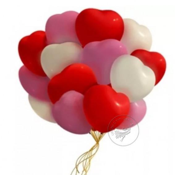 Букет шаров « Облако сердец» 15 сердечек
