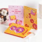 Открытка 4 шоколадки 8 марта (розовый пончик)