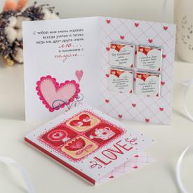 "Открытка 4 шоколадки ""Love"""